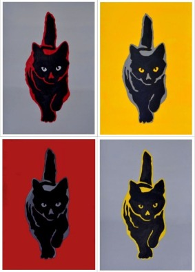 Collage katten, acryl op papier, in witte of zwarte lijst, 35 x 27 cm, € 40,- per stuk