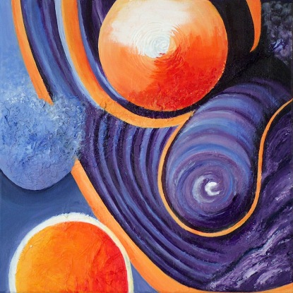 Universum links, acryl op doek, 40 x 40 cm, € 40,-